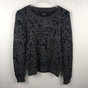 All Saints Gray & Blue Print Crew Neck Sweater